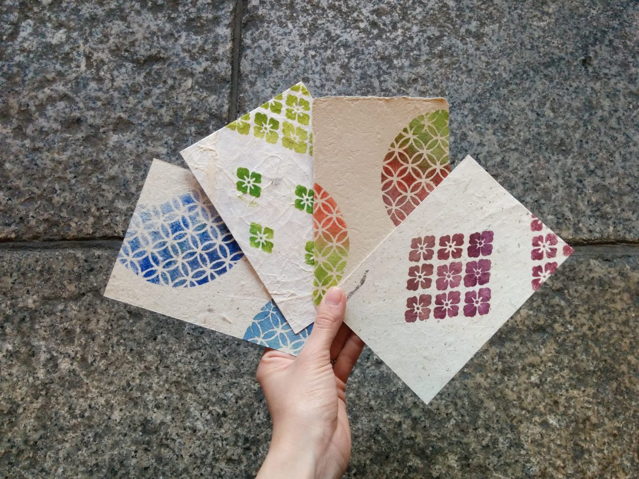 伊勢型紙でポストカード